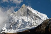Snow covered Machapuchare from Annapurna Base Camp