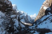 Breathtaking mountain valley on the way to Annapurna Base Camp during winter