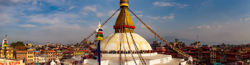 Boudhanath Stupa and the colourful city of Kathmandu