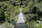 Impressive suspension bridge just beyond Temang, Annapurna Circuit