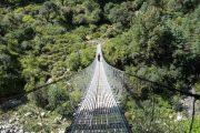 Impressive suspension bridge just beyond Temang, Annapurna Circuit