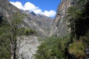 Incredible mountain and forest scenery between Chame and Upper Pisang, Annapurna Circuit