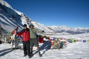 Feeling good and celebrating having reached Thorong La Pass on the Annapurna Circuit