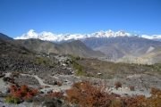 Looking back on sacred Muktinath on the Annapurna Circuit