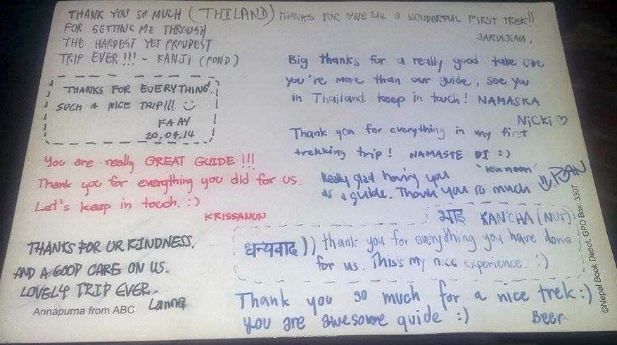 Independent Trekking Guide in Nepal: Thank you card