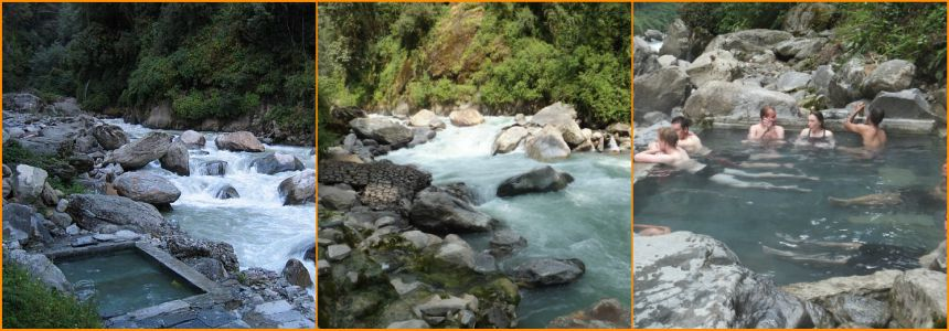 Relax in the natural hot springs at Jhinu Danda on the Modi Khola river