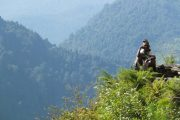 Rural Nepali elderly man taking a break in the hills as we passed on our way to Poon Hill.