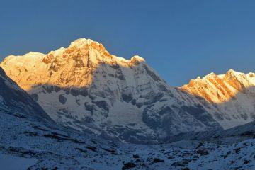 Annapurna Base Camp Trek sunrise over Annapurna South
