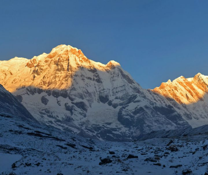 Annapurna Base Camp Trek sunrise over Annapurna South
