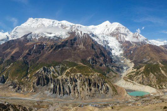 Annapurna Circuit Trek, Gangapurna mountain, glacier and lake near Manang