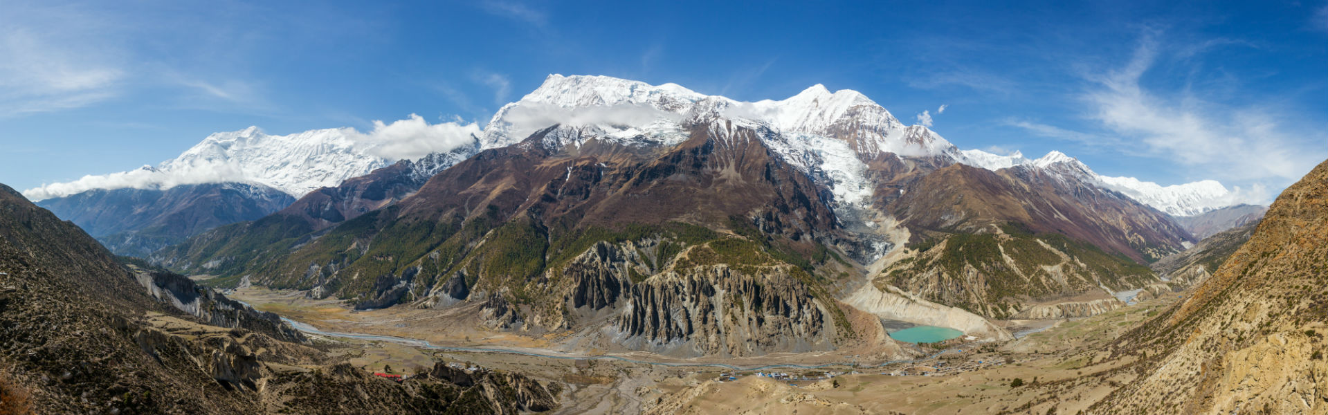 How to choose a trek in Nepal: Annapurna Circuit Trek Panorama of Gangapurna mountain, glacier and lake near Manang