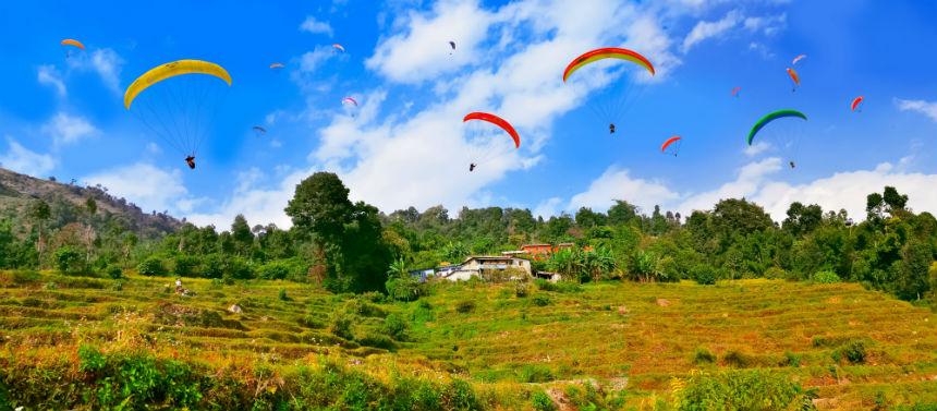 Paragliders above Sarangkot, Pokhara