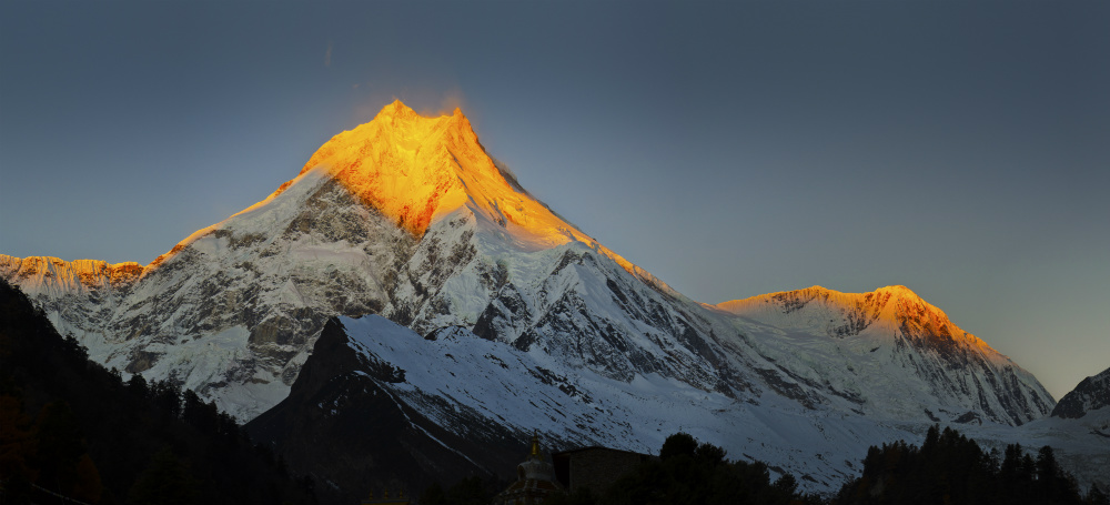 Sunrise over Mount Manaslu, Manaslu Region
