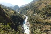 River, forests and terraced farmlands on the Annapurna Circuit