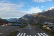 The sloping airstrip at Tenzing-Hillary Airport, Lukla, on the Everest Base Camp and Everest View treks
