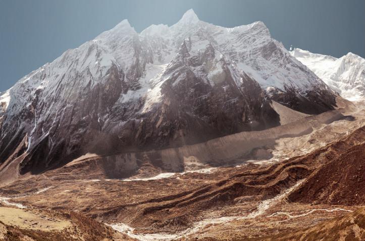 Snow covered Mount Manaslu, Manaslu Trek