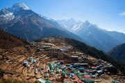 Colourful mountain settlement Namche Bazaar, Everest Base Camp and Everest View treks