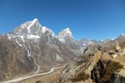 View of valley and mountain peaks near Dingboche, side trip from Everest Base Camp trek