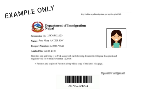 Example of Nepal Online Tourist Visa Confirmation