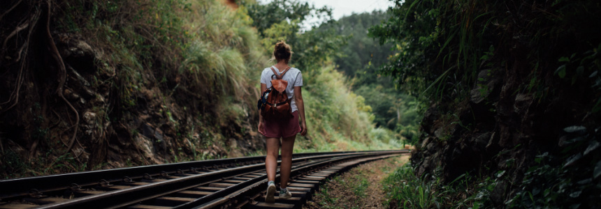 Create a Walking Plan; Girl Walking on Railway Line
