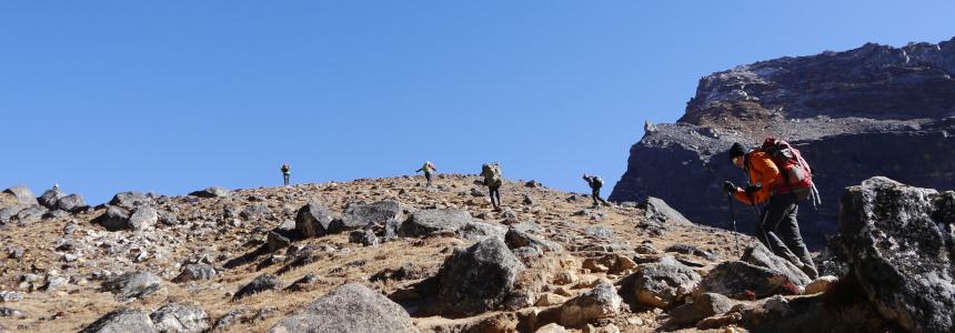 Get fit to trek Nepal! Trekkers climbing Gokyo-Ri