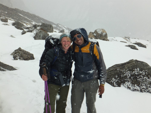 Nepal Trekking Company Nepalorama Founders Anna and Krishna Trekking to Annapurna Base Camp in 2013