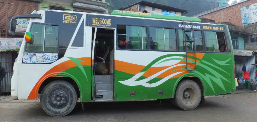 Deluxe local and tourist bus in Nepal