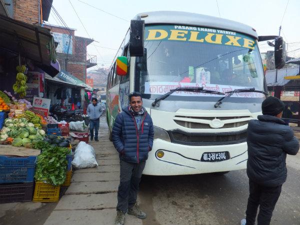 Our deluxe bus from Kathmandu to Syabrubesi