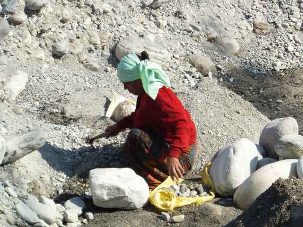Nepali Woman Breaking Rocks