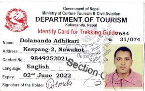 Dolananda Adhikari Identity Card for Trekking Guide