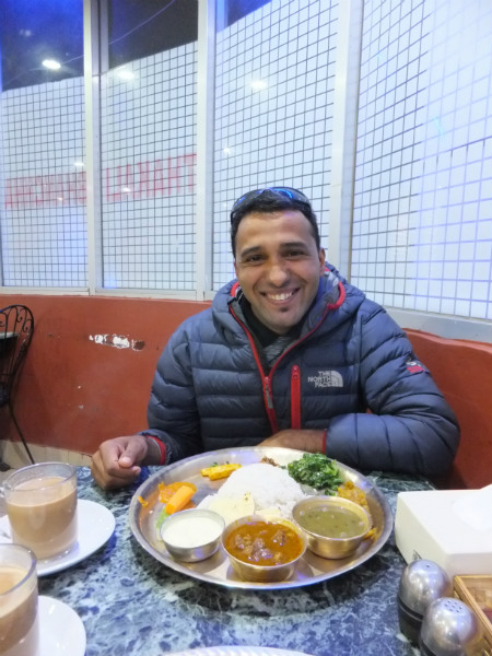 The Best Trekking Guide in Nepal: Krishna Excited About his Dal Bhat