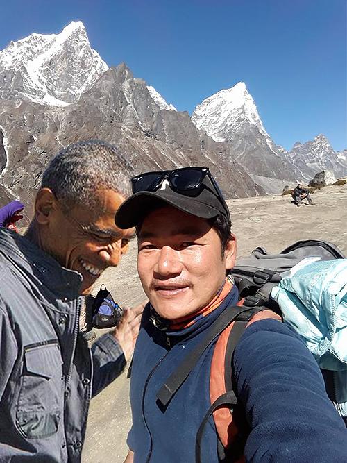 Trusted Nepal trekking guide Bibek with Barack Obama