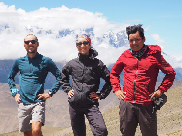 One of the best trekking guides in Nepal: Bibek with his clients