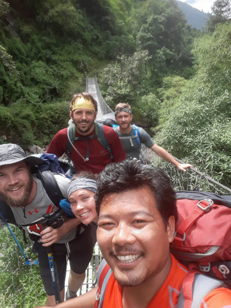 Professional Trekking Guide in Nepal - Buddhi with his clients