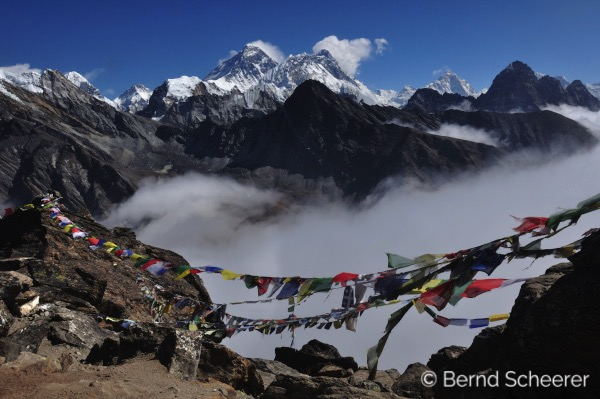 15 reasons to trek in Nepal - Tibetan prayer flags with Everest in the background