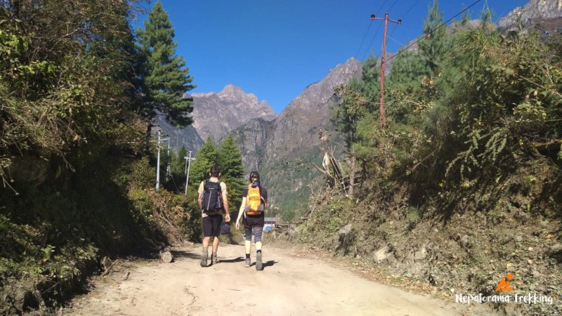 Couple trekking in the Annapurna region